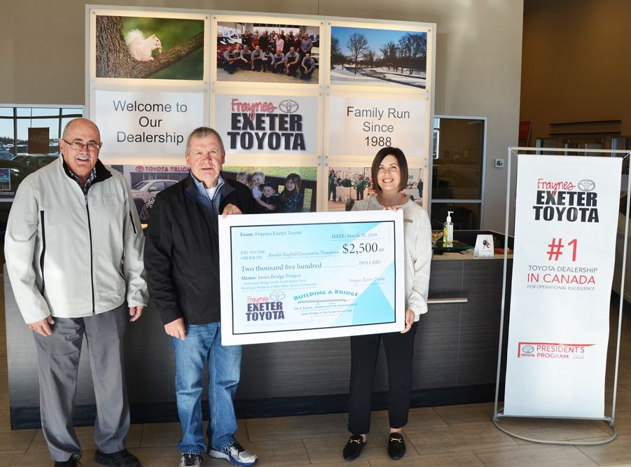 Frayne's Exeter Toyota makes generous $2,500 donation to Jones Bridge Project for Pedestrian Bridge on the South Huron Trail