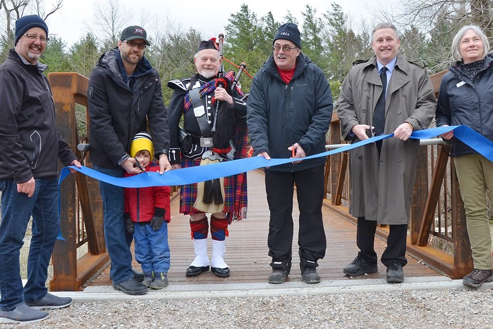 Ribbon cut at grand opening for Jones Bridge.