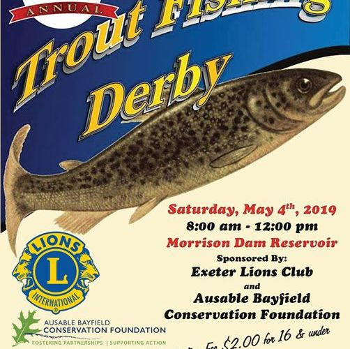 Saturday, May 4, 2019 is Fishing Derby hosted by Exeter Lions.