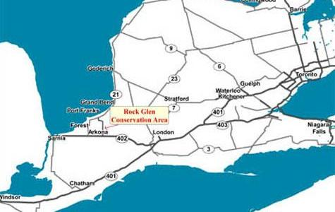 Map to Rock Glen Conservation Area, Arkona
