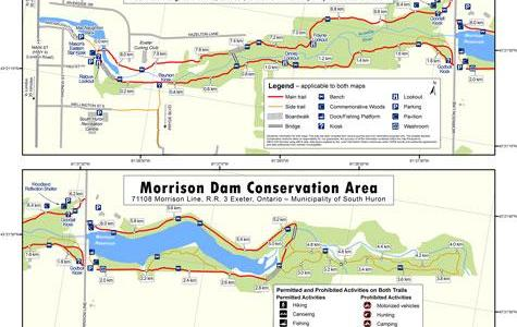 Maps of Morrison Dam Conservation Area and MacNaughton-Morrison Sections of the South Huron Trail